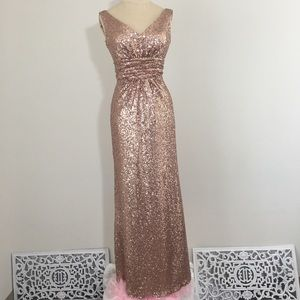 Chirstina Wu Rose Gold Formal Sequin Gown Size 2